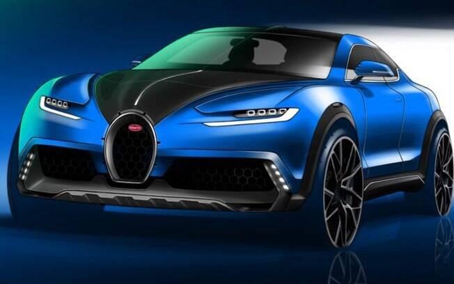 O SUV da Bugatti, na interpretação do ilustrador digital Giorgi Tedorazdze. A influência do Chiron é notável