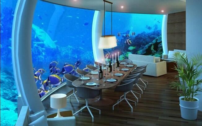 Primeiro hotel submerso tem 12 metros de profundidade e está em ilha privada em Fiji. Foto: Divulgação