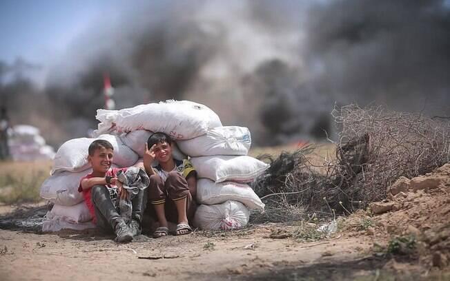 Crianças na faixa de Gaza. Imagem ilustrativa