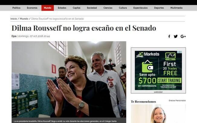 Veículos internacionais, como o mexicano La Jornada, citaram também a derrota de Eduardo Suplicy e Dilma Rousseff na disputa pelo Senado
