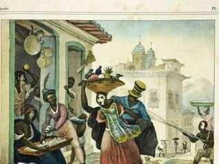 História. Desenho de Jean- Baptiste Debret (1768-1848) mostrando a brincadeira do entrudo entre os escravos
