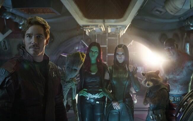 Guardiões da Galáxia: Peter Quill, Groot, Gamora, Mantis, Rocket e Drax