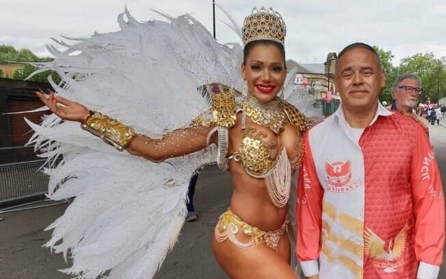 Ana Paula Evangelista participou mais um ano do Carnaval de Notting Hill, em Londres