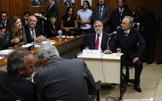 Os ex-diretores da Petrobras frente a frente no Senado Federal, na tarde desta terça-feira, na CPMI que investiga a estatal. Foto: Jefferson Rudy/Agência Senado