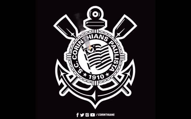 Escudo do Corinthians pegando fogo
