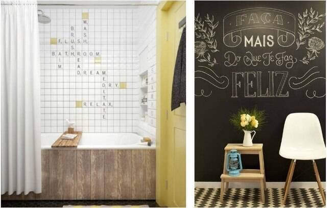 Palavra cruzada com azulejos ou lousa? Maneiras de decorar com letras e frases