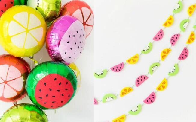 Balões ou cortinas de frutas bem coloridas podem alegrar o espaço, mas é importante que o ambiente seja neutro