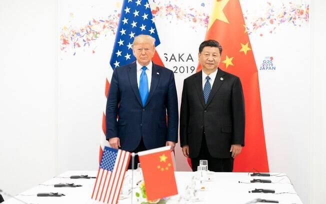 Donald Trump. residente dos EUA.com Xi Jinping, presidente da China durante reunião do G20