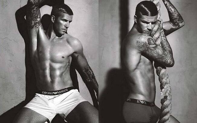Tatuagens à mostra e gel no cabelo nas poses de David Beckham para a grife Emporio Armani