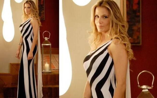 Natalie Lamour e seu vestido preto-e-branco que chamou a atenção dos telespectadores