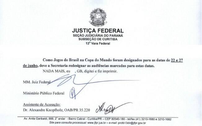Sérgio Moro pediu a mudança das datas de audiências nos dias 22 e 27 de junho por causa de jogos do Brasil