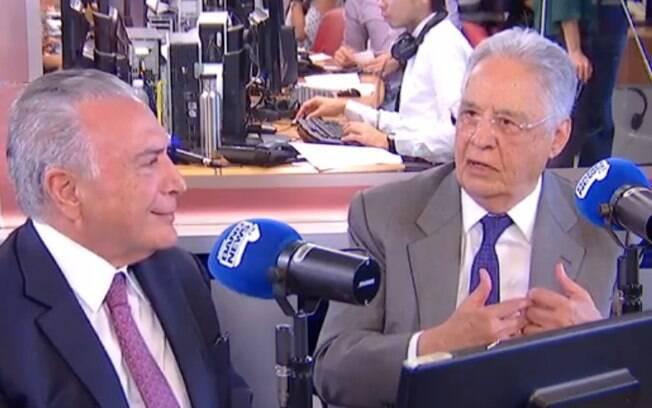 Governo Bolsonaro vira pauta entre os ex-presidentes Fernando Henrique Cardoso e Michel Temer, em entrevista em rádio