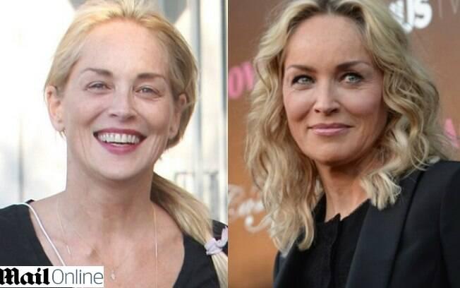 Sharon Stone sai para caminhar sem maquiagem em Los Angeles