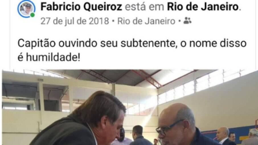 Postagem de Queiroz elogiando Bolsonaro