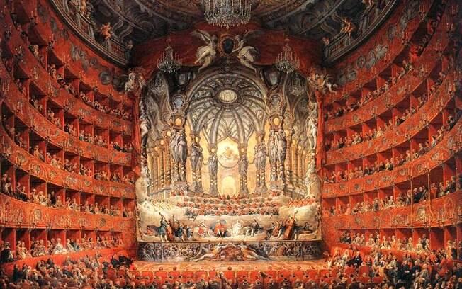 Obra de Giovanni Pannini retrata concerto barroco em teatro na Argentina