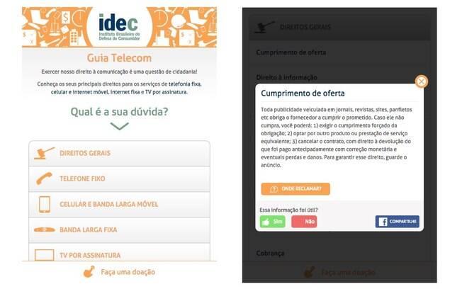 App Guia Telecom do Idec esclarece os direitos do consumidor nas áreas de telefonia fixa, celular e internet móvel, internet fixa e TV por assinatura. Só para Android