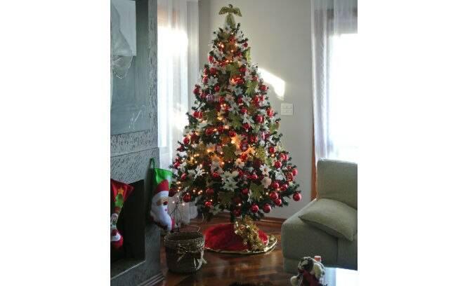 decoracao arvore de natal vermelho e dourado: Tons de vermelho e dourado dão vida ao pinheiro. Foto: Divulgação