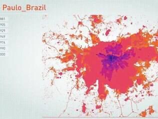São Paulo. Houve uma explosão de crescimento próximo à cidade nos anos 30 e até os 50. As cores vermelho e laranja mostram a crescente dominação da região