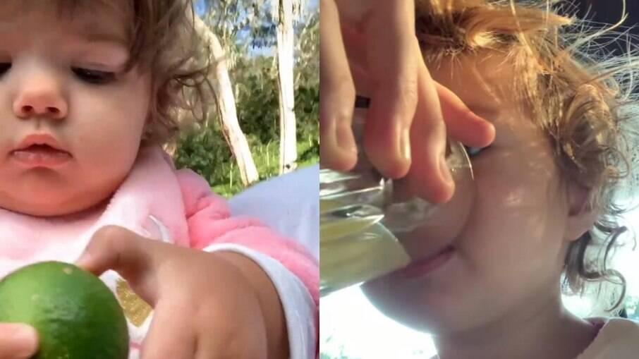 Rafael Vitti mostra Clara Maria tomando água com limão