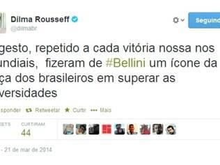 Mensagem postada no perfil oficial da presidente Dilma no Twitter
