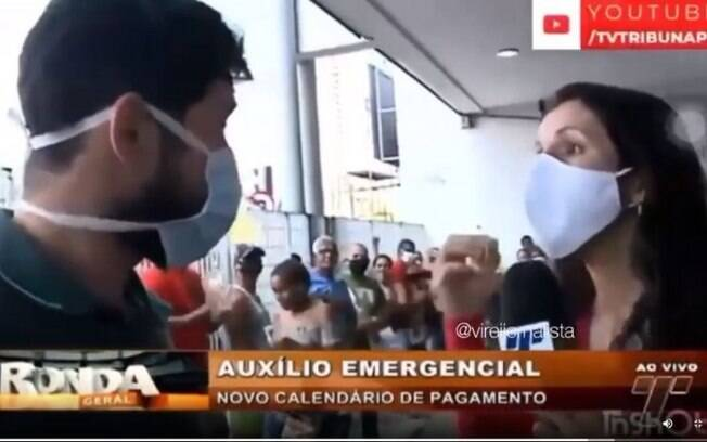 Repórter discutiu ao vivo com funcionário da Caixa