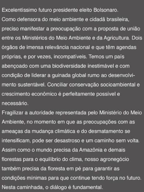 Gisele Bündchen publica carta aberta a Bolsonaro em seus stories