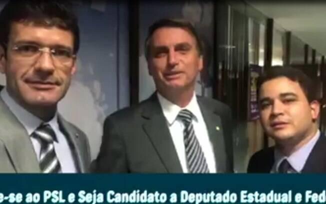 Marcelo Álvaro, Jair Bolsonaro e Robertinho Soares em vídeo publicado pelo PSL de Minas Gerais