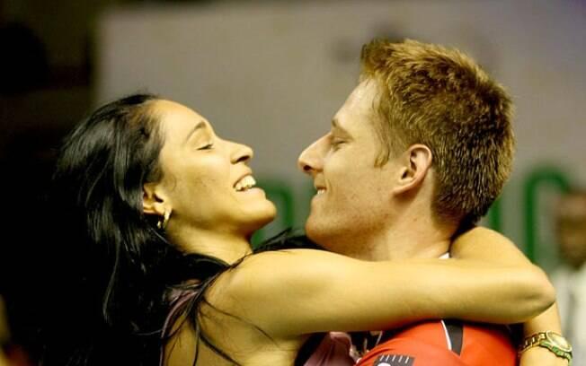A comemoração do título foi ao lado da  esposa, a também jogadora Jaqueline