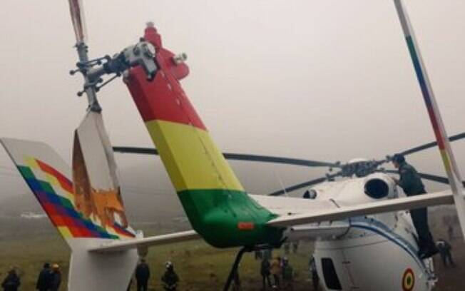 Helicóptero ficou com a hélice traseira danificada