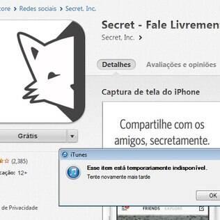 Secret está indisponível na App Store