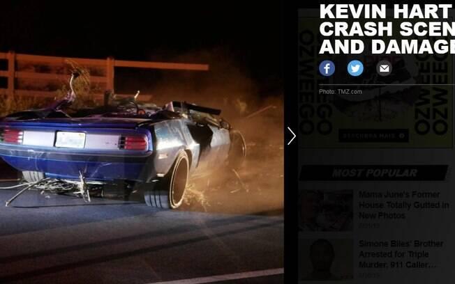 Imagens do TMZ mostram carro de Kevin Hart após acidente