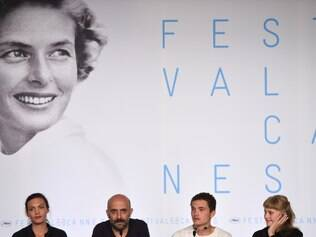 (From L) Swiss actress Aomi Muyock, Argentinian director Gaspar Noe, US actor Karl Glusman and Danish actress Klara Kristin attend a press conference for the film