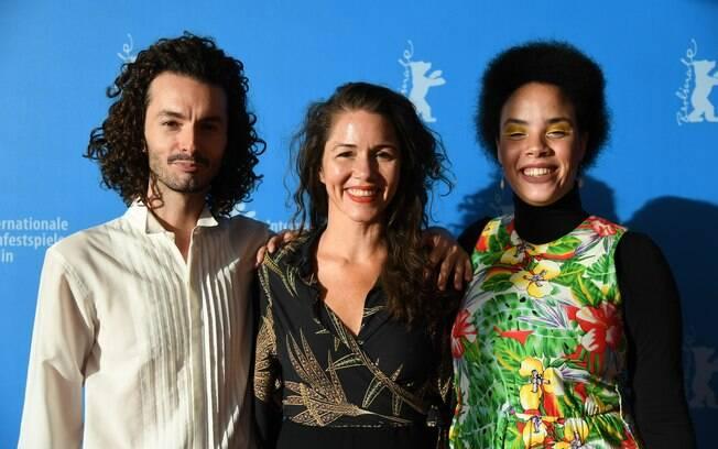 Montador Yuri Amaral, diretora Eliza Capai e a protagonista Marcela Jesus, do filme