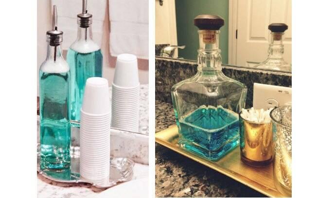 Recipientes de vidro usados originalmente para armazenar azeite ou uísque dão um toque de sofisticação à bancada da pia