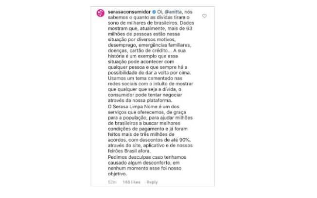 Serasa responde comentário de Anitta