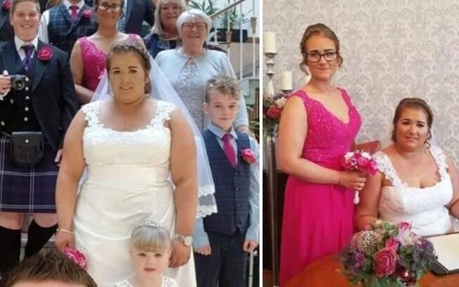 Samantha Allan  surpreendeu seus convidados ao fazer seu casamento surpresa durante sua festa de aniversário