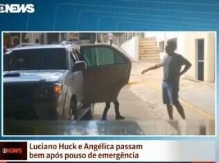 Luciano Huck chegou ao hospital em Campo Grande caminhando com dificuldade. Angélica estava em uma maca