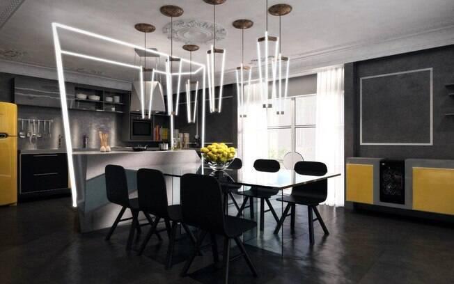 O arquiteto Léo Shehtman criou o 'Loft One' para a mostra. O ambiente de 110 m² recebeu uma mistura de estilos. Na cozinha, o destaque é a iluminação led