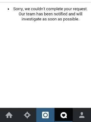 Na mensagem de erro, o Instagram diz