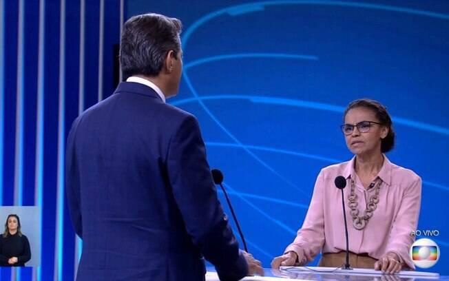 Debate na Globo: Marina Silva questionou Fernando Haddad sobre a alta rejeição de sua candidatura