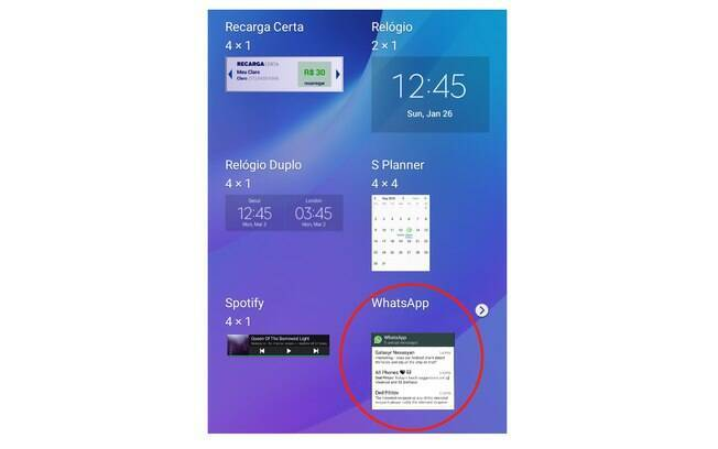 Selecione o WhatsApp na janela de Widgets. Obs: A Essas dicas do whatsapp foram feitas em um Samsung Galaxy e podem variar para outras marcas.