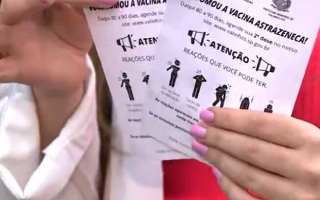 Estudante cria panfleto para alertar da importância da 2ª dose da vacina da Astrazeneca