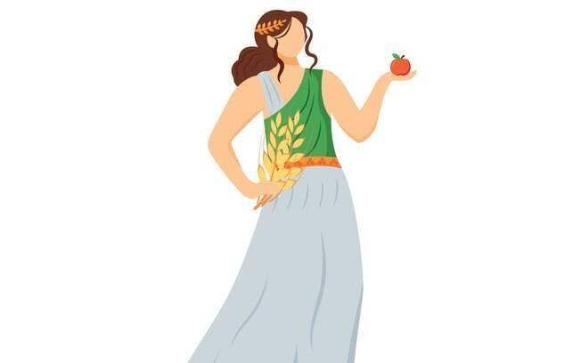 Deméter, a deusa mãe, está ligada aos cereais, nutrição e cuidados