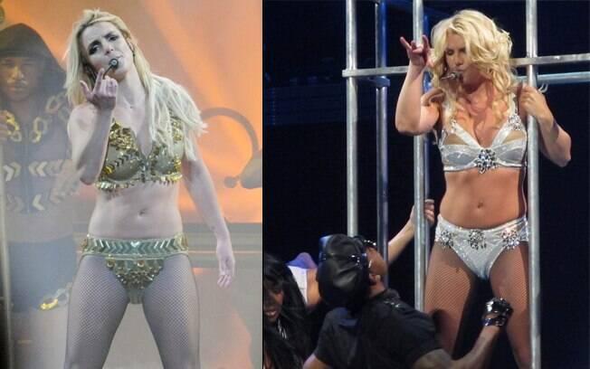 Britney Spears em dois momentos: nessa sexta-feira e há algumas semanas