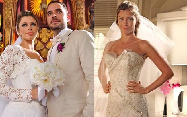 Lucena e Juan, no primeiro casamento da heroína; à direita, a modelo experimenta o vestido que usará no enlace com Vicente