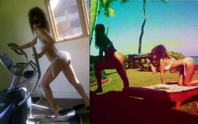 Rihanna: depois da malhação, fotos do bumbum da amiga