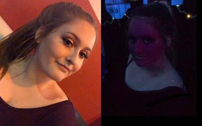 Amanda Whitrock usou um pó translúcido na maquiagem quando foi em uma arena de 'laser tag', ficou com o rosto neon