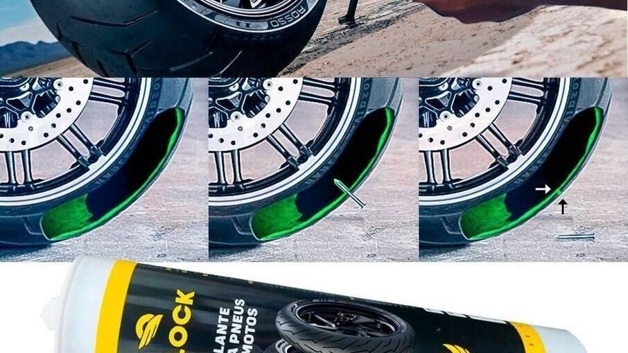 Block Selante é injetado pela válvula do pneu e se espalha pela parte interna blindando contra furos