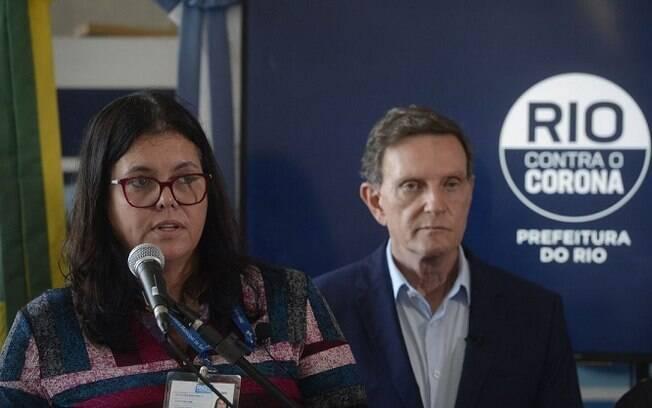 Secretária de Saúde, Beatriz Busch, e o prefeito Marcelo Crivella