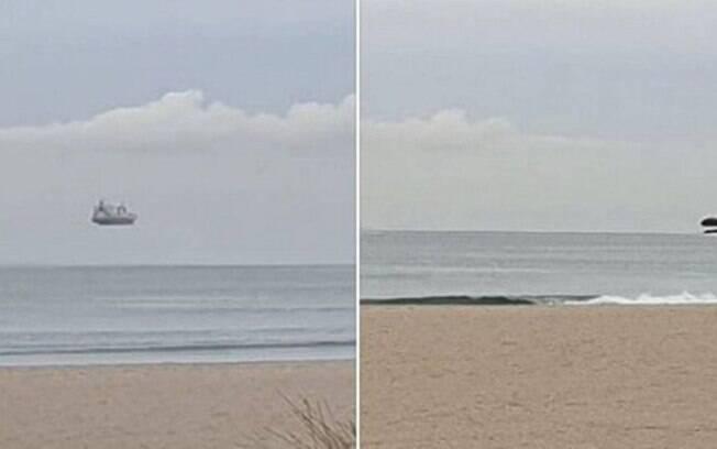 Uma incrível ilusão de ótica mostrou que um enorme navio de cruzeiro parecia pairar no horizonte